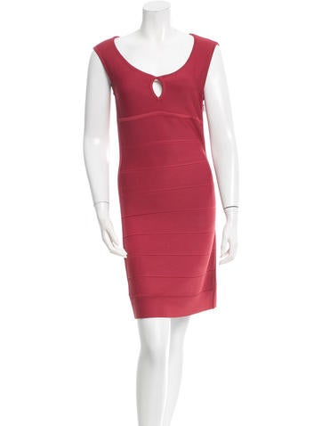 Herve Leger Rib Knit Bodycon Dress None
