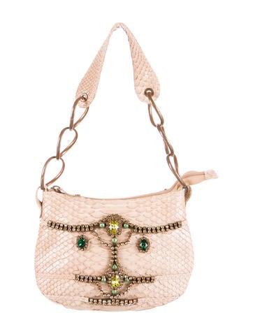 Herve Leger Crystal Embellished Python Handle Bag None