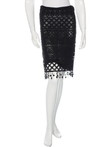 Herve Leger Crochet Pencil Skirt None
