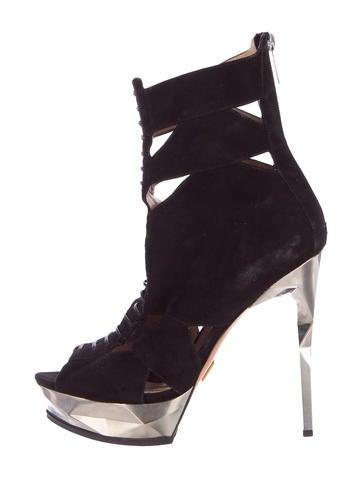 Herve Leger Lace-Up Platform Ankle Boots None