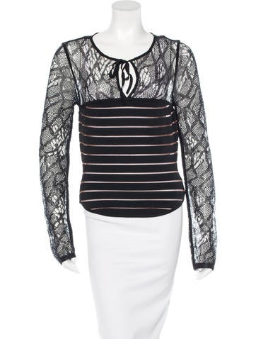 Herve Leger Lace-Accented Knit Top None