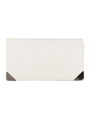 Herve Leger Embossed Leather Clutch None