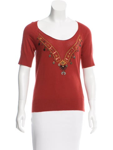 Herve Leger Embellished Cashmere Top None