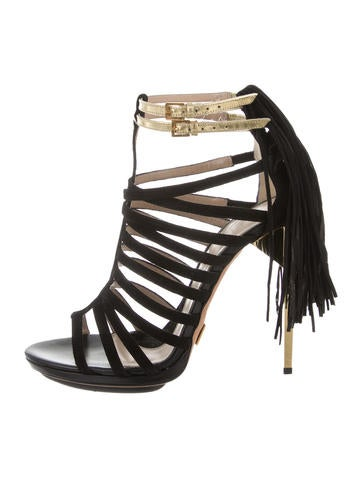 Herve Leger Fringe Caged Sandals None