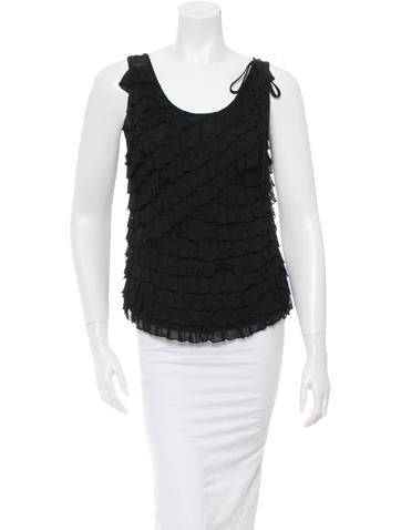 Herve Leger Sleeveless Ruffle Top None