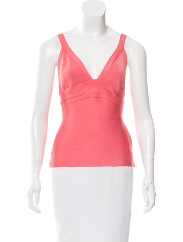 Herve Leger Sleeveless V-Neck Top None