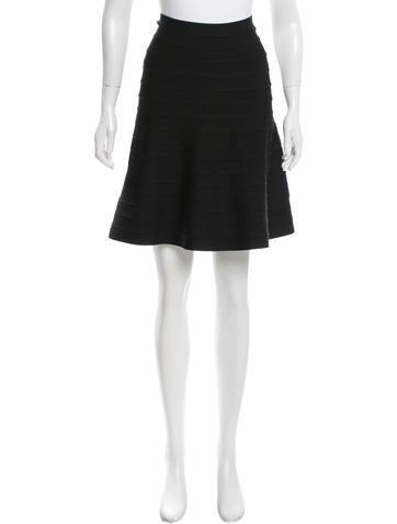 Herve Leger Knit A-Line Skirt None