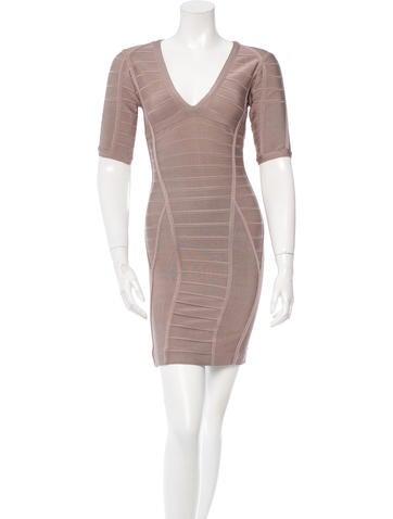 Herve Leger V-Neck Bandage Dress None