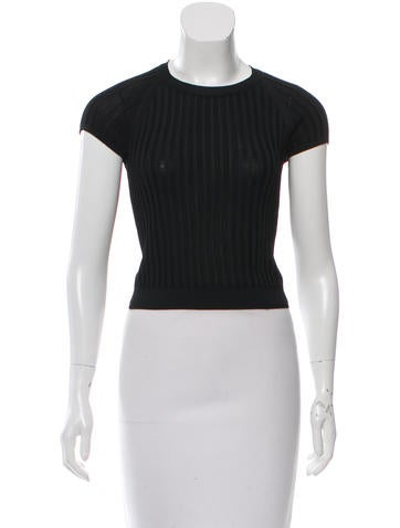 Herve Leger Short Sleeve Knit Top None