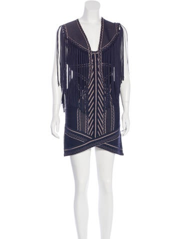 Herve Leger Renata Fringe Dress None