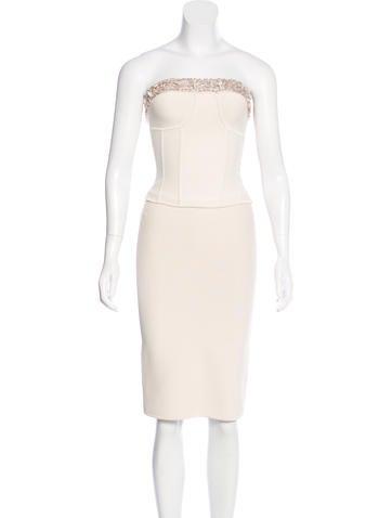 Herve Leger Embellished Sheath Skirt Set None