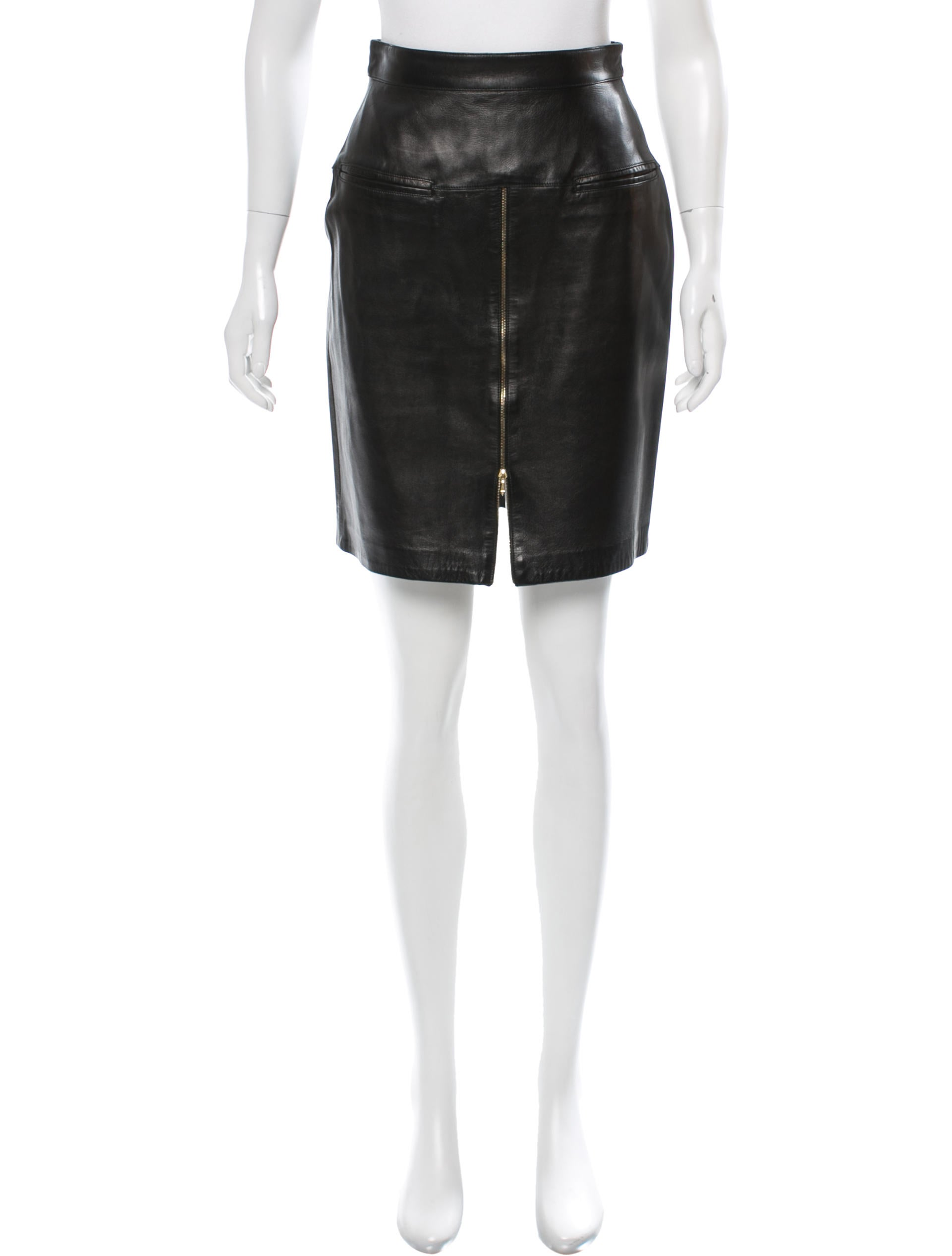 herve leger leather knee length skirt clothing