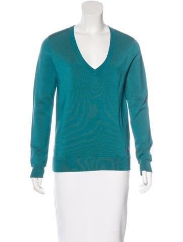 Herve Leger Knit V-Neck Sweater None