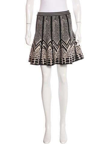 Herve Leger Jacquard A-Line Skirt None