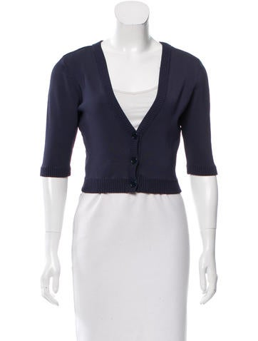 Herve Leger Cropped Rib Knit Cardigan None
