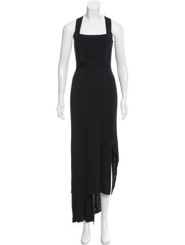 Herve Leger Asymmetrical Maxi Dress None