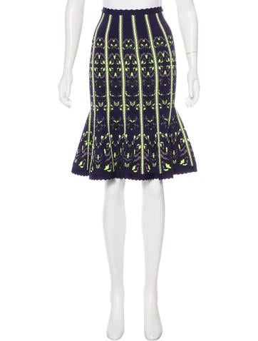 Herve Leger Jacquard Knit Skirt None