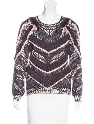 Herve Leger Fringe-Trimmed Knit Sweater None