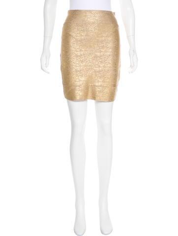 Herve Leger Metallic Mini Skirt None