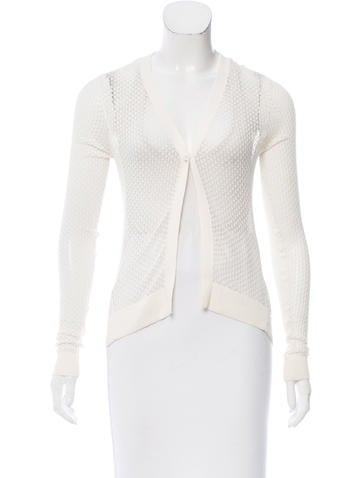 Herve Leger Open-Knit Long Sleeve Cardigan None