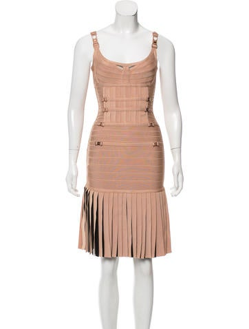 Herve Leger Milena Pleated Dress None