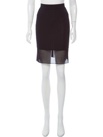 Herve Leger Sheer-Paneled Pencil Skirt None