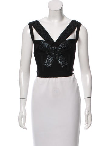 Herve Leger Sleeveless Cropped Top None