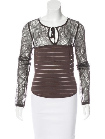 Herve Leger Semi-Sheer Long Sleeve Top None