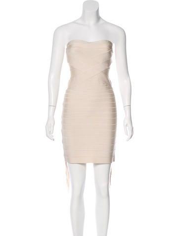 Herve Leger Lydia Fringe Bandage Dress None