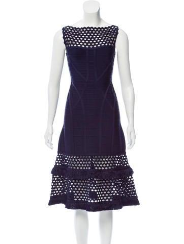 Herve Leger Camellia Fringe Dress w/ Tags None