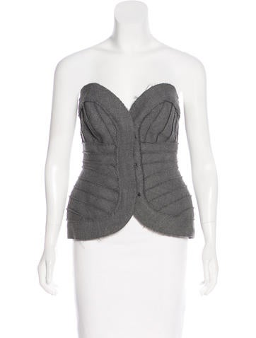 Herve Leger Wool Bustier Top None