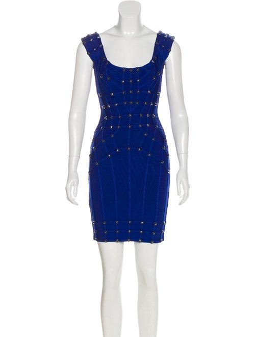 Herve Leger Mara Studded Dress Blue