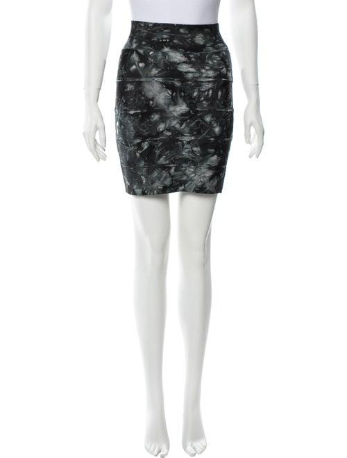 Herve Leger Tie-Dye Print Mini Skirt Green