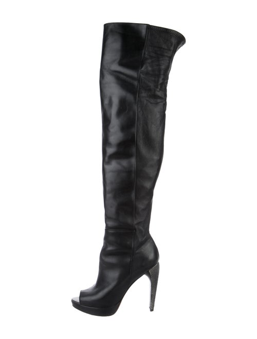 Herve Leger Peep-Toe Over-The-Knee Boots Black