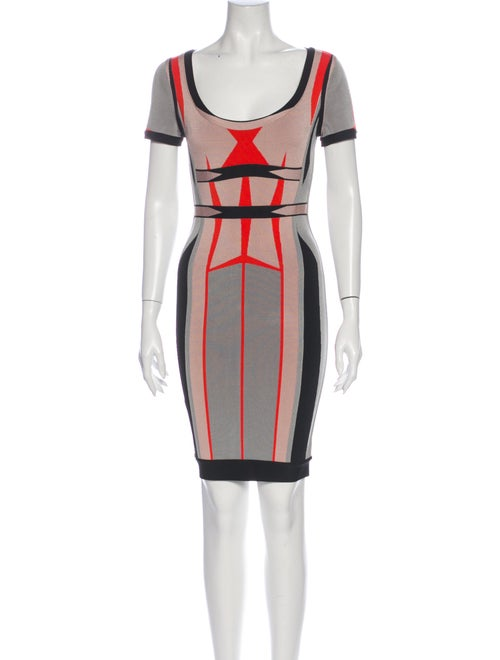 Herve Leger Colorblock Pattern Mini Dress Grey