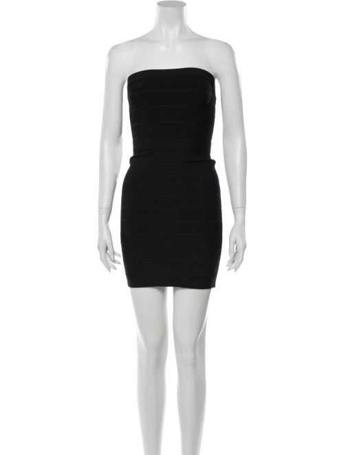 Herve Leger Strapless Mini Dress Black