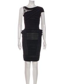 Herve Leger Bateau Neckline Mini Dress