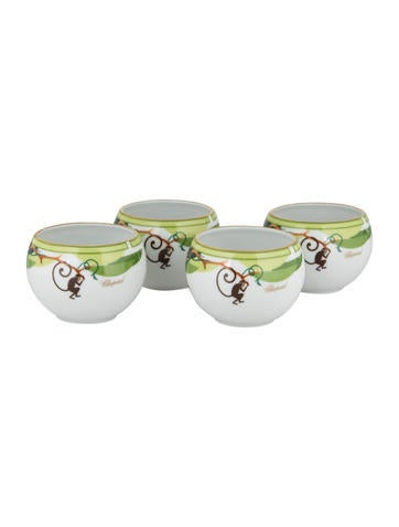 Haviland Set of 4 Chopard Small Monkey Tea Bowls None