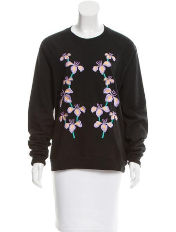 Holly Fulton Floral Embroidered Crew Neck Sweatshirt None
