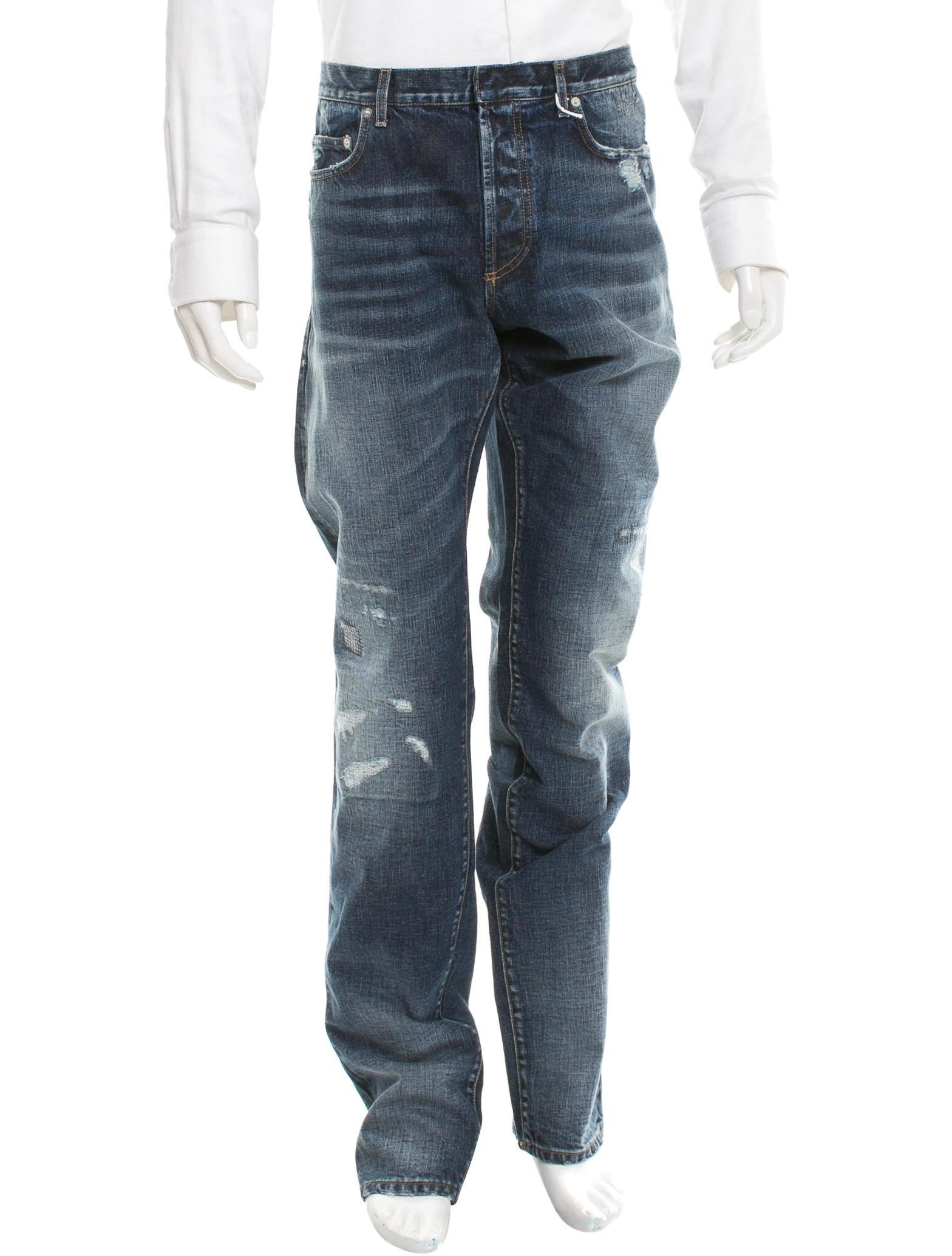 dior homme straight leg distressed jeans clothing. Black Bedroom Furniture Sets. Home Design Ideas