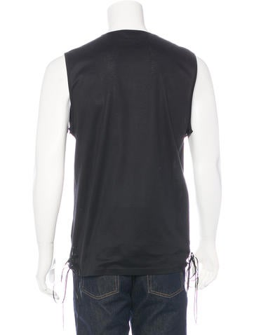 Leather-Accented Tank Shirt