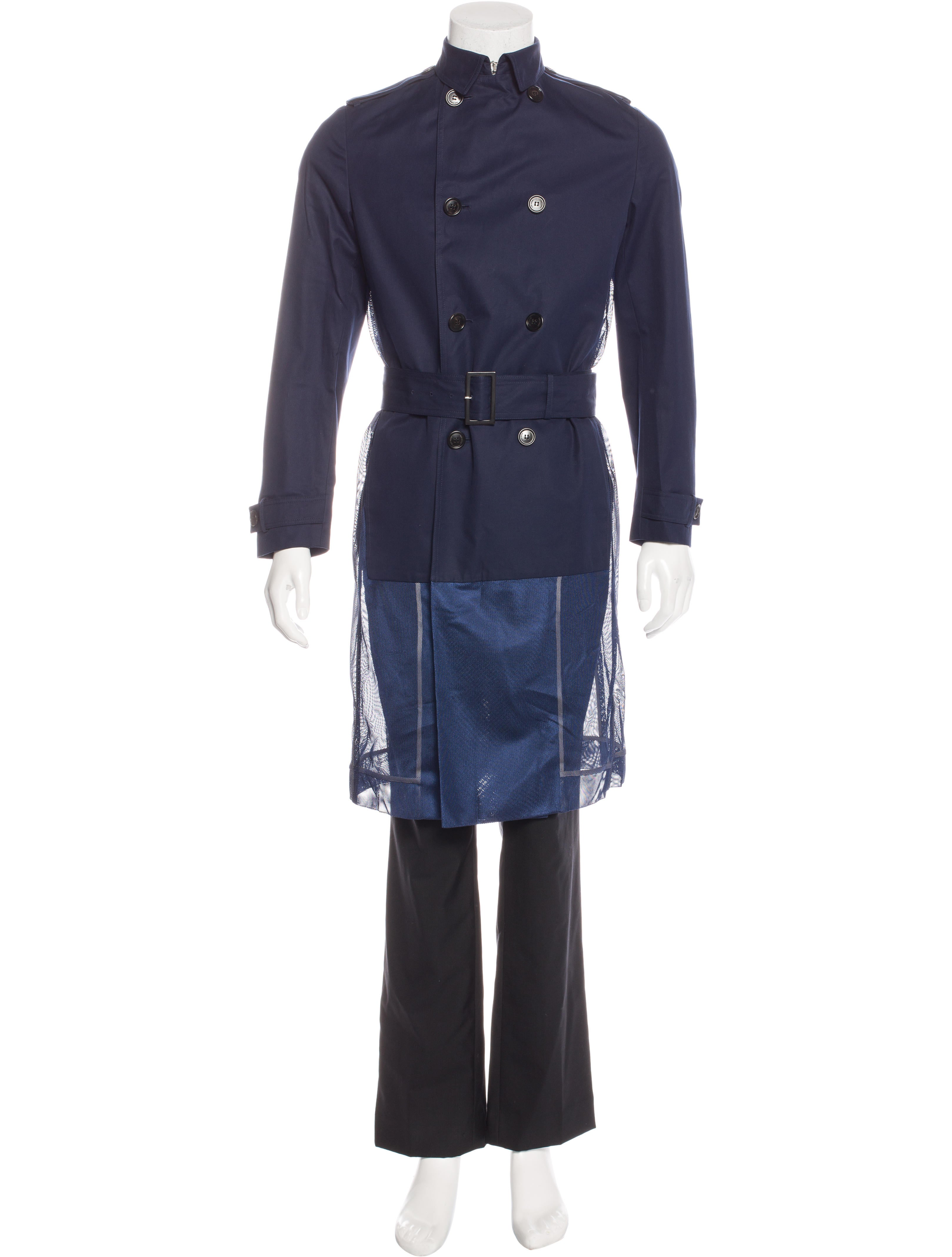 dior homme mesh paneled trench coat clothing hmm22750. Black Bedroom Furniture Sets. Home Design Ideas