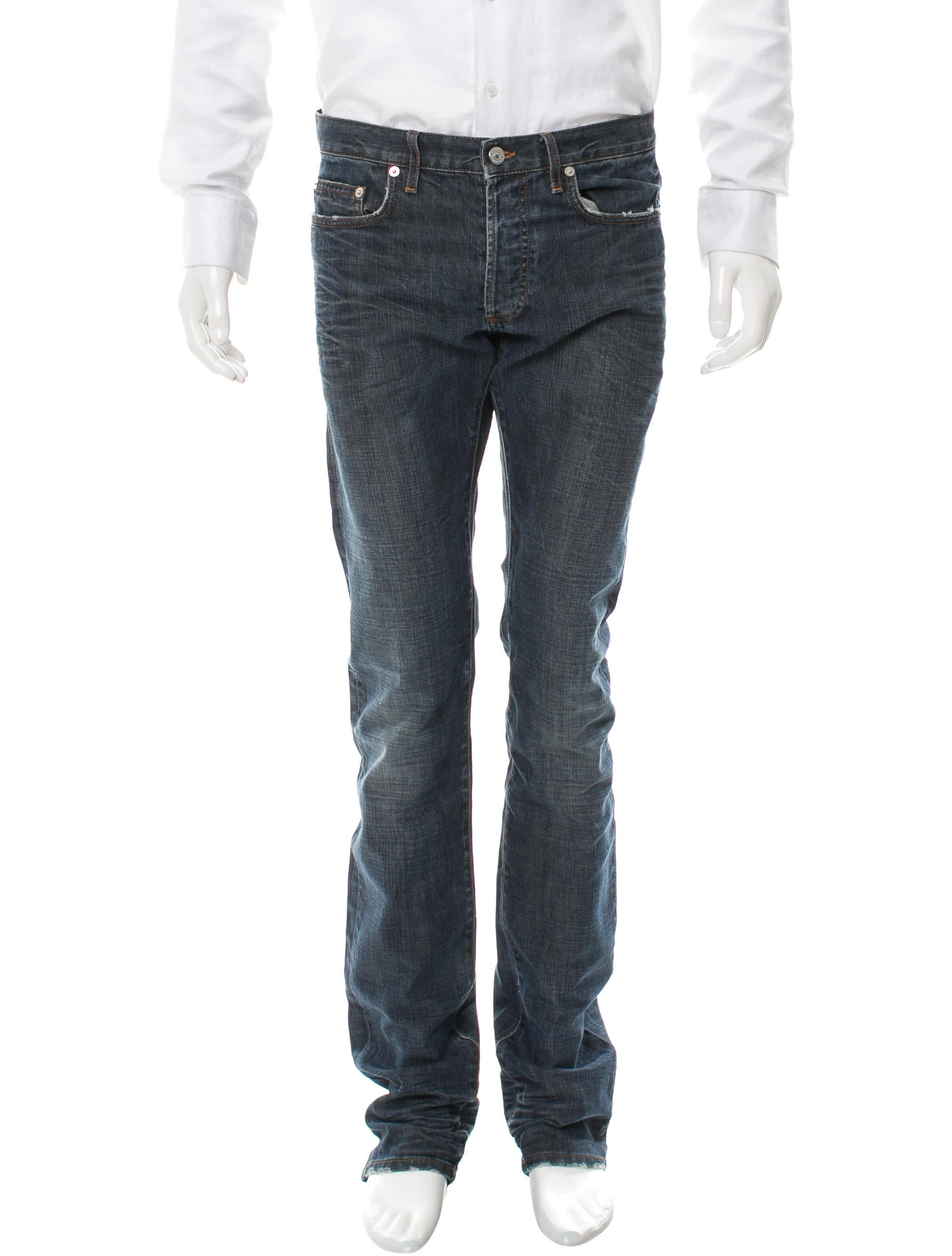 dior homme distressed skinny jeans clothing hmm22778 the realreal. Black Bedroom Furniture Sets. Home Design Ideas