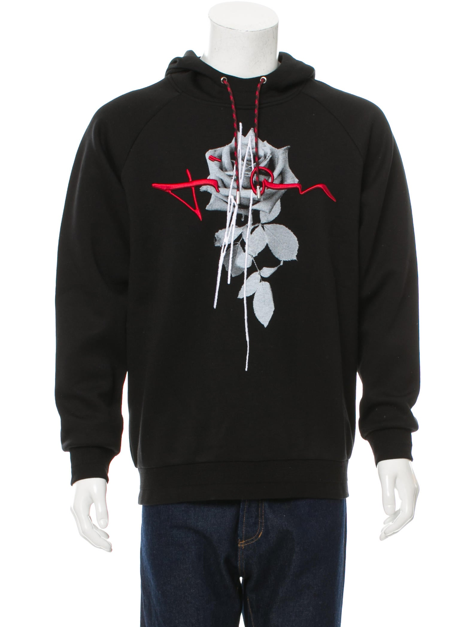 dior homme 2016 rose print logo embroidered hoodie clothing hmm22825 the realreal. Black Bedroom Furniture Sets. Home Design Ideas