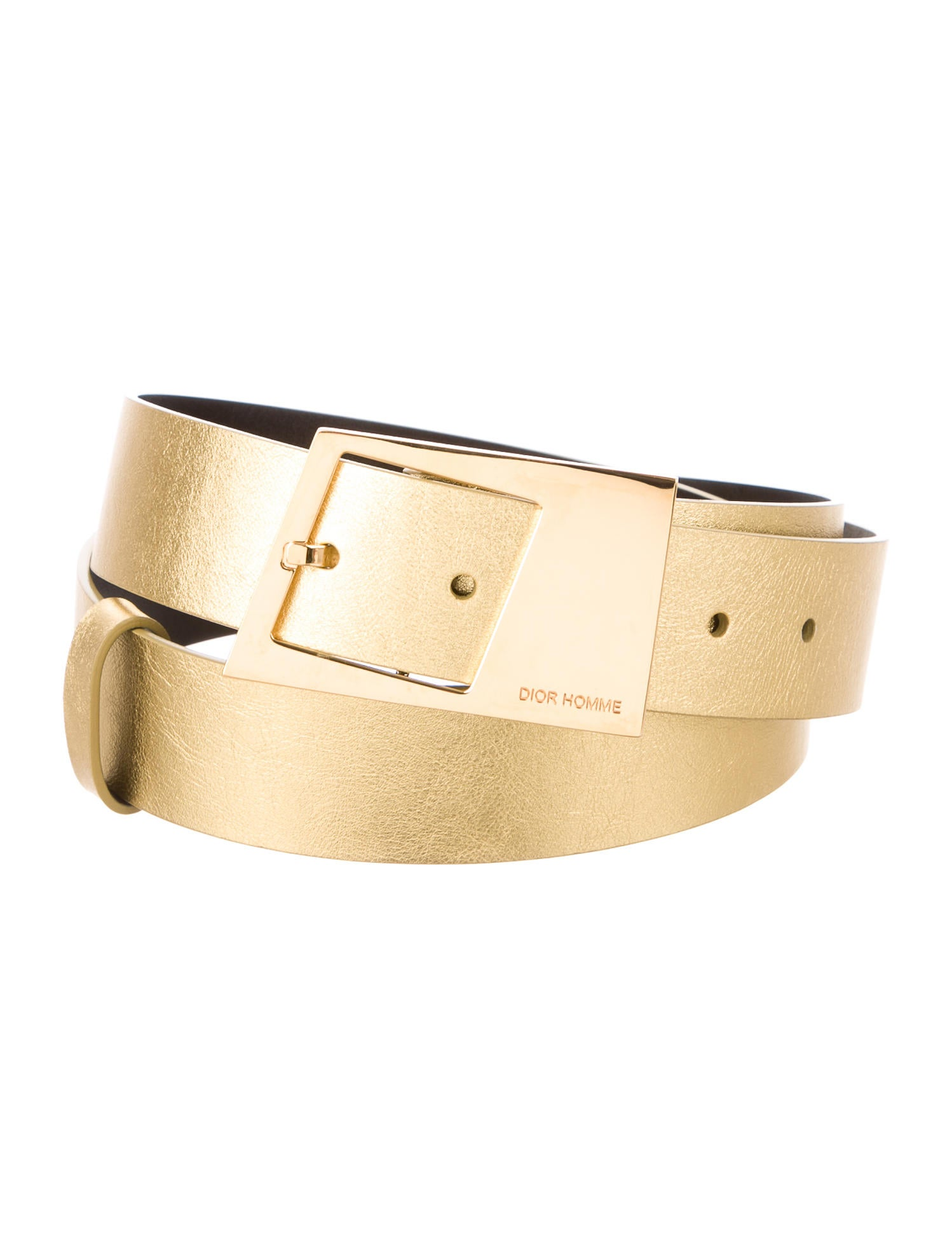 homme metallic leather belt w tags accessories