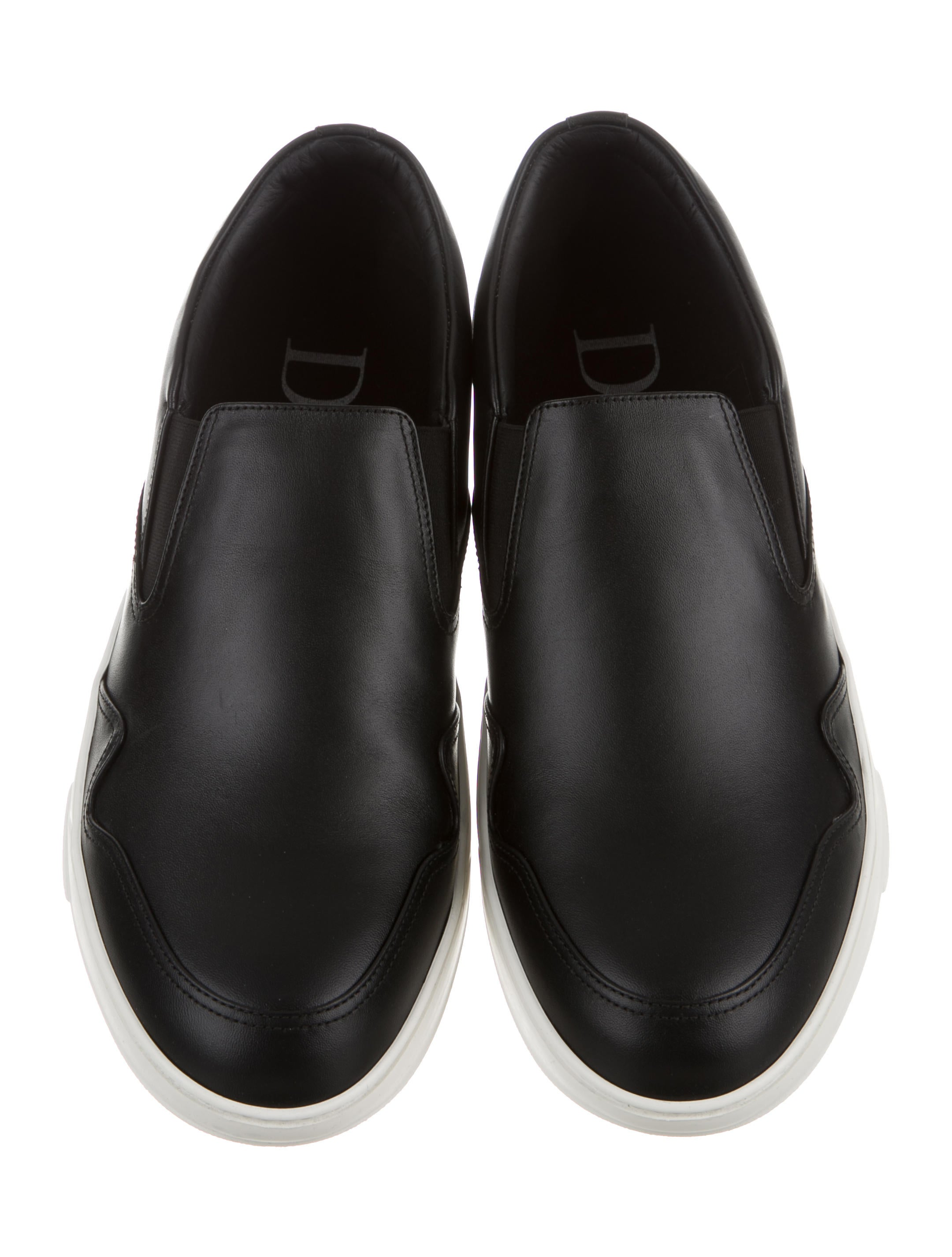 dior homme leather slip on sneakers shoes hmm23012 the realreal. Black Bedroom Furniture Sets. Home Design Ideas