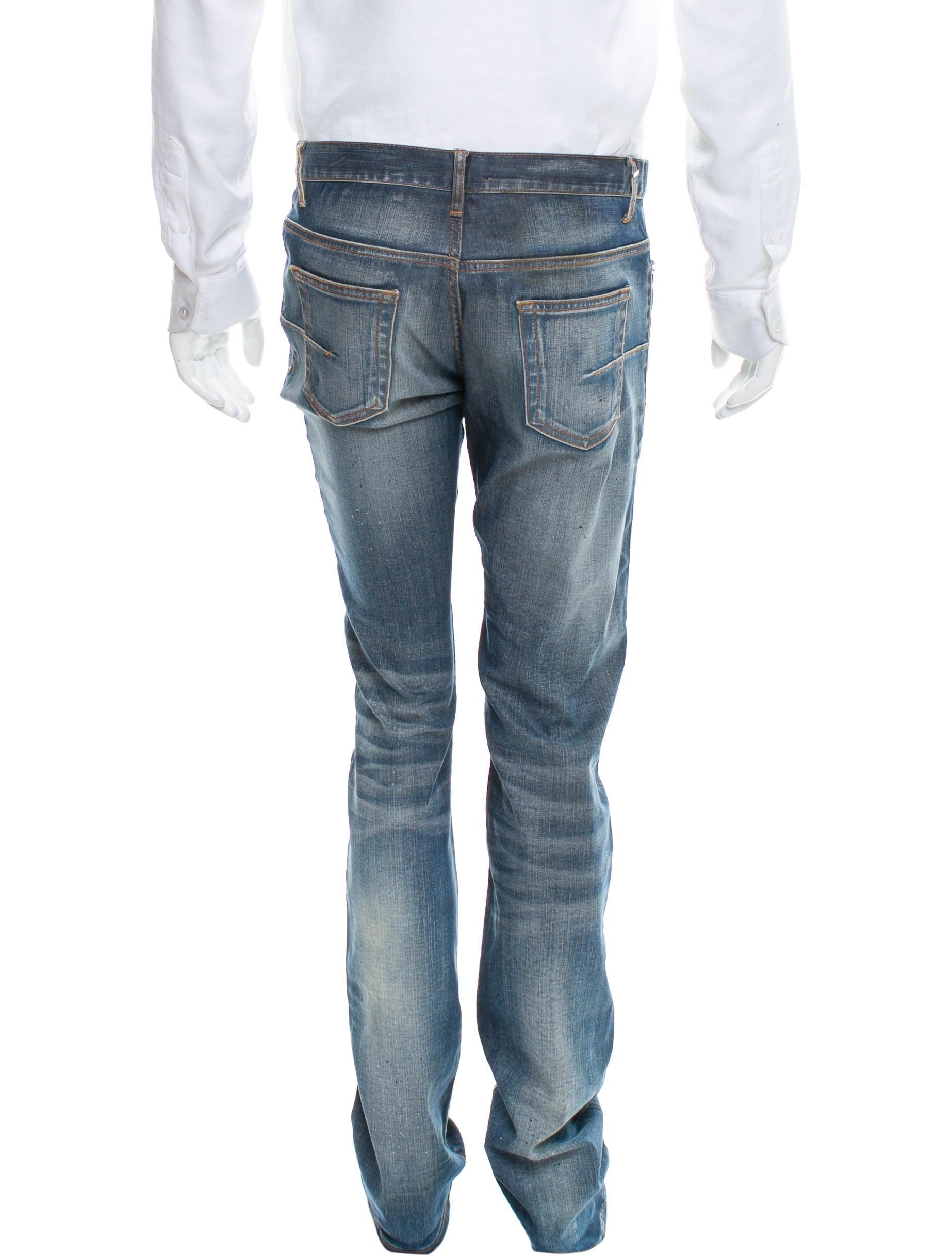 dior homme paint splatter slim fit jeans clothing hmm23308 the realreal. Black Bedroom Furniture Sets. Home Design Ideas