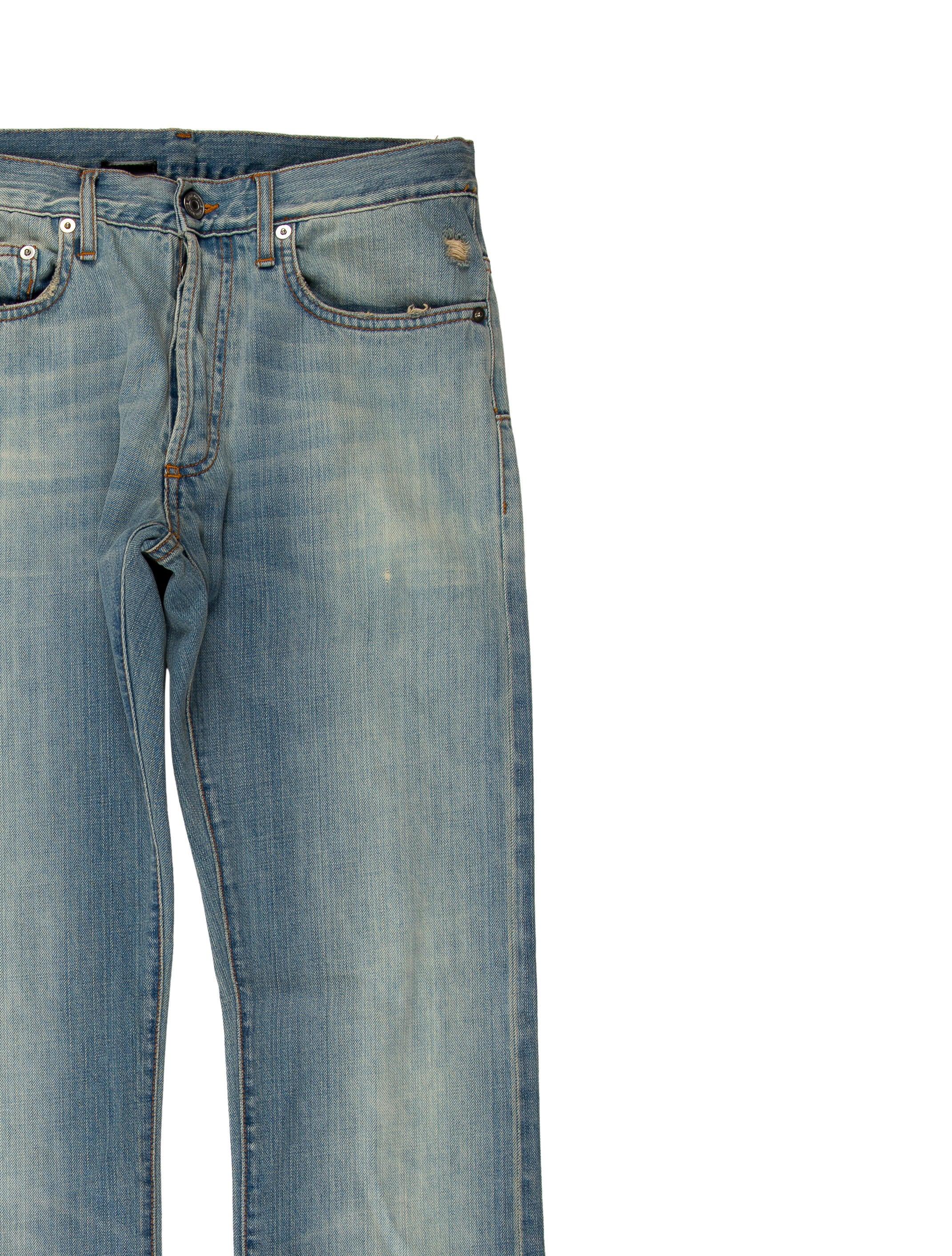 dior homme distressed slim fit jeans clothing hmm23413 the realreal. Black Bedroom Furniture Sets. Home Design Ideas