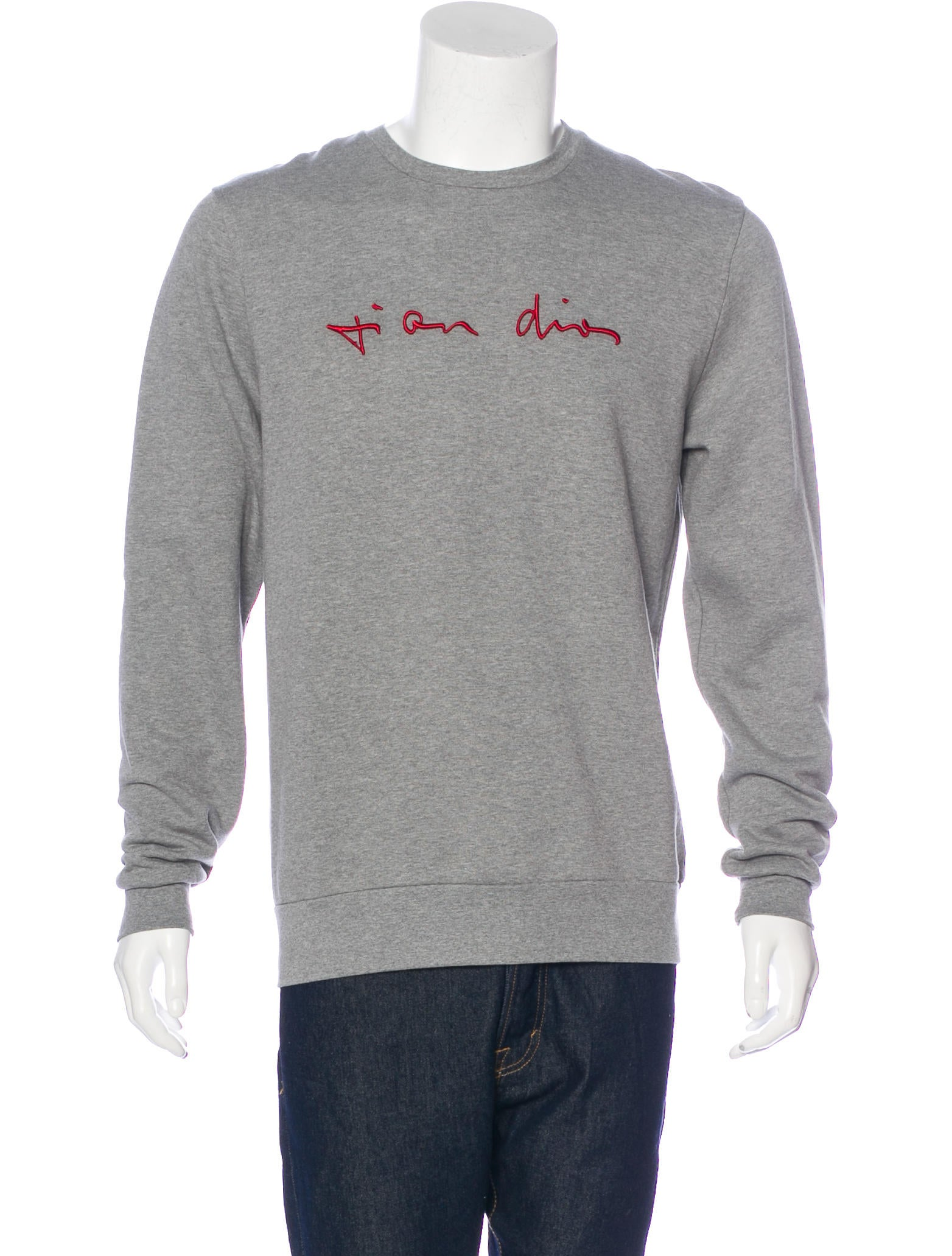 dior homme embroidered crew neck sweatshirt clothing hmm23426 the realreal. Black Bedroom Furniture Sets. Home Design Ideas