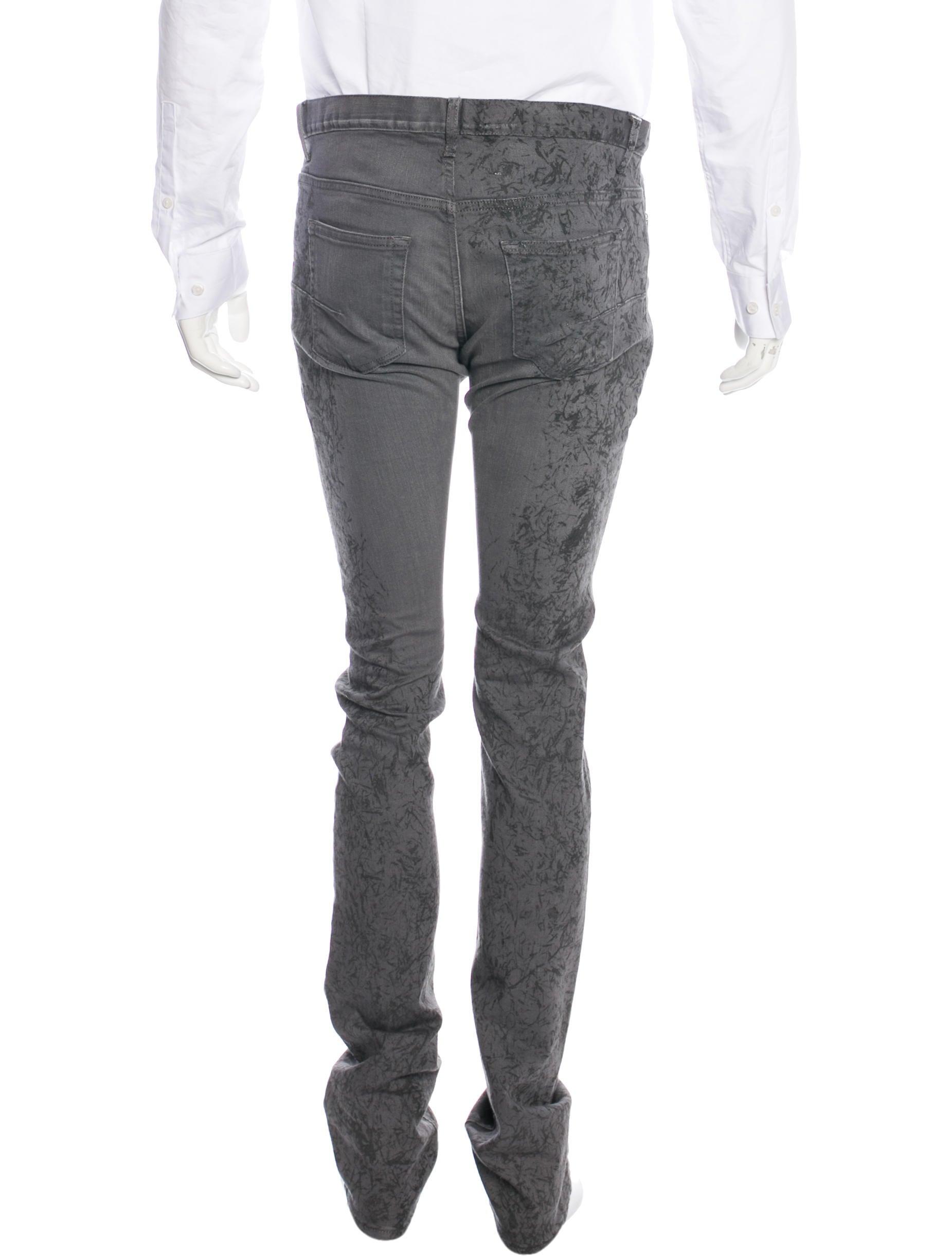 dior homme splatter skinny jeans clothing hmm23597 the realreal. Black Bedroom Furniture Sets. Home Design Ideas